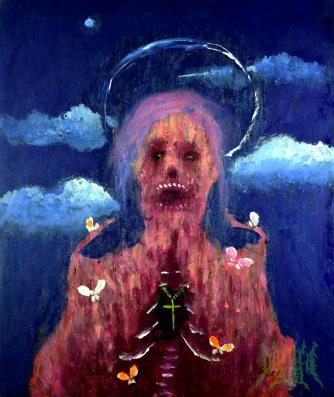 Below, acrylic, 24'' x 20''